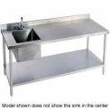 "Aero Manufacturing 2TSB3072/T100 72""W X 30""D 14 Gauge Stainless Workbench w/ Shelf & Left Sink"