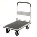 "Folding Platform Truck With Solid Steel Deck 8"" Pneumatic Wheels 600 Lb. Cap."
