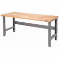 """72""""W X 30""""D Maple Butcher Block Square Edge Work Bench - Adjustable Height - 1 3/4"""" Top - Gray"""