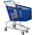 Blue Plastic Shopping Cart 3.5 Cu. Foot Capacity