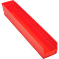 "Plastic Shelf Bin Nestable 4-1/8 x 23-5/8"" D x 4""H Red - Pkg Qty 12"