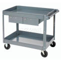2 Shelf Deep Tray Steel Stock Cart 36x24 800 Lb. Capacity With 2 Drawers