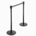 Crowd Control Barrier Black Post - B/W Striped 7-1/2'L Single Belt