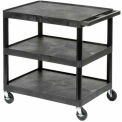 Luxor® HE34 Black Plastic Shelf Truck 24 x 18 x 32-1/2 3 Shelves