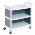 Plastic Utility Cart With 3 Shelves and Closed Ends & Back