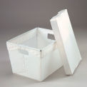 Corrugated Plastic Tote With Lid 18-1/2x13-1/4x12 White