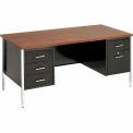 "60"" x 30"" Double Pedestal Desk - Black/Walnut Top"