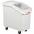 Rubbermaid 3.5 Cu. Ft. Plastic Bin Truck With Retractable Clear Lid & Scoop