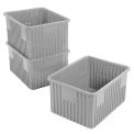 "Plastic Dividable Grid Container - DG93120, 22-1/2""L x 17-1/2""W x 12""H, Gray - Pkg Qty 3"