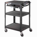 GlobalIndustrial Black Adj Steel Workstation With Sliding Shelf & Mouse Pad