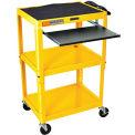 Yellow Adjustable Steel Workstation With Sliding Keyboard Shelf