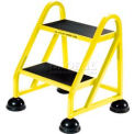 2 Step Aluminum Rolling Ladder - Yellow