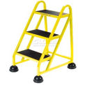 3 Step Aluminum Rolling Ladder - Yellow