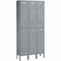 Penco Locker Double Tier 12x18x36 6 Doors Assembled Gray