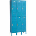 Penco Locker Double Tier 12x18x36 6 Doors Assembled Marine Blue