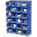 """Singled Sided Louvered Bin Rack 35""""W x 15""""D x 50""""H with 42 of Blue Premium Stacking Bins"""