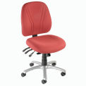 Multifunctional Office Chair - Fabric - Mid Back - Burgundy Seat Silver Base