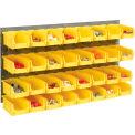 Wall Bin Rack Panel 36 x19 With 32 Yellow 4-1/8x7-1/2x3 Stacking Bins