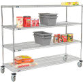 Quick Adjust Wire Shelf Truck 72x18x60 1200 Pound Capacity With Brakes