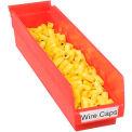 "Akro-Mils Plastic Shelf Bin Nestable 30128 - 4-1/8""W x 17-7/8""D x 4""H Red - Pkg Qty 12"