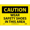 "Safety Signs - Caution Wear Safety Shoes - Vinyl 7""H X 10""W"