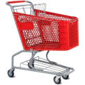 Red Plastic Shopping Cart 3.5 Cu. Foot Capacity