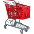 Red Plastic Shopping Cart 5.2 Cu. Foot Capacity