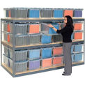 "Record Storage Rack Gray 48""Wx 24""D X 84""H With Polyethylene File Boxes"