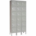 Global™ Locker Six Tier 12x12x12 18 Door Ready To Assemble Gray