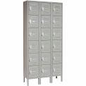 Global™ Locker Six Tier 12x12x12 18 Door Ready To Assemble Gray