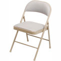 Padded Fabric Folding Chair - Beige - Pkg Qty 4