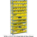 Steel Open Shelving with 28 Yellow Plastic Stacking Bins 10 Shelves - 36x18x73