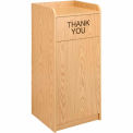 36 Gallon Wooden Waste Receptacle With Tray Top Oak