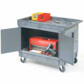 Enclosed 2 Tray Shelf Cart With 5 Inch Rubber Casters