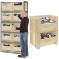 Steel Boltless Wood Deck Shelving With 10 Plastic Hopper Bins Beige, 42x15x84
