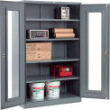 Paramount™ Clear View Storage Cabinet Easy Assembly 48x24x78 - Gray