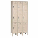 Paramount® Locker 3 Tier 12 X 15 X 24 9 Door Ready To Assemble Tan