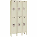Hallowell Premium Locker Double Tier 12x15x30 6 Door Assembled Parchment