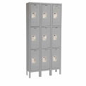 Hallowell U3228-3A-HG Premium Locker Triple Tier 12x12x24 9 Door Assembled - Dark Gray