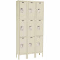 Hallowell Premium Locker Triple Tier 12x12x24 9 Door Assembled Parchment