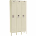 Hallowell Premium Locker Single Tier 12x18x72 3 Door Assembled Parchment