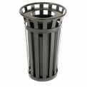 Outdoor Metal Waste Receptacle - 24 Gallon Black