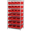 "36 X 24 X 74 Chrome Wire Shelving With 20 24""D Bins Red"