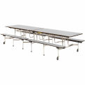 "Virco® Cafeteria Table with Benches - 144""L - Gray Nebula Top"