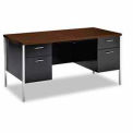 Double Pedestal Desk With Walnut Top - Hon Steel Desks