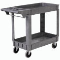 "Small Deluxe 2 Shelf Plastic Utility & Service Cart 5"" Rubber Casters"
