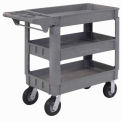 "Small Deluxe 3 Shelf Plastic Utility & Service Cart 6"" Pneumatic Casters"