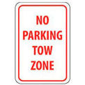 "Reflective Aluminum Sign - No Parking Tow Zone- .080"" Thick, TM38J"