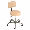 Anti-Microbial Medical Office Stool With Backrest - Beige Vinyl