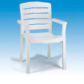 Grosfillex® Stacking Dining Outdoor Armchair Woodgrained - White (Sold in Pk. Qty 4) - Pkg Qty 4